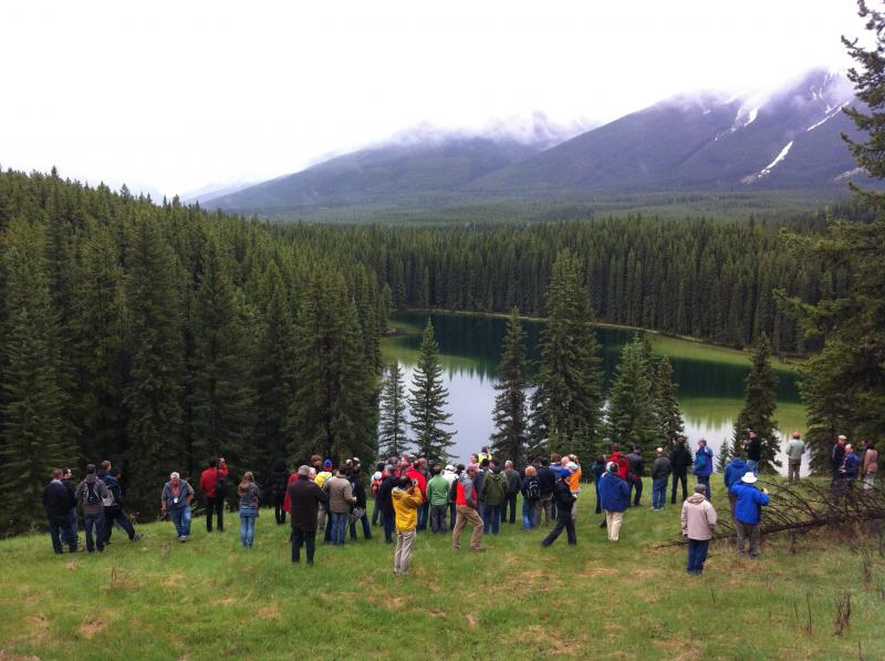 Delegates viewing Vermillion Lakes from Norquay Mountain